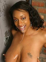 Big tits black gloryhole blowjob interracial cum