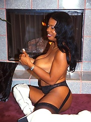 Sexy black milf in white boots