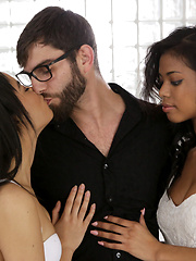 Latina babe Maya Bijou and black beauty Nia Nacci double team their man with a double blowjob and hardcore threesome